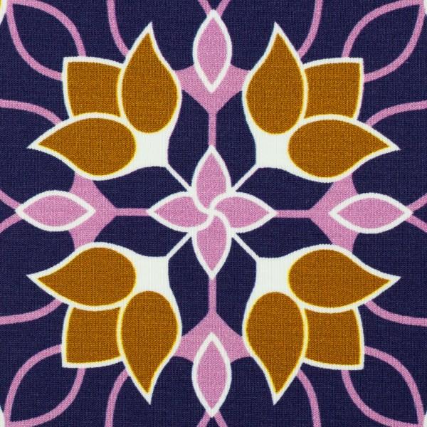 "Bomuldsjersey ""Big floral Ornaments"" by Lycklig Design lilla"