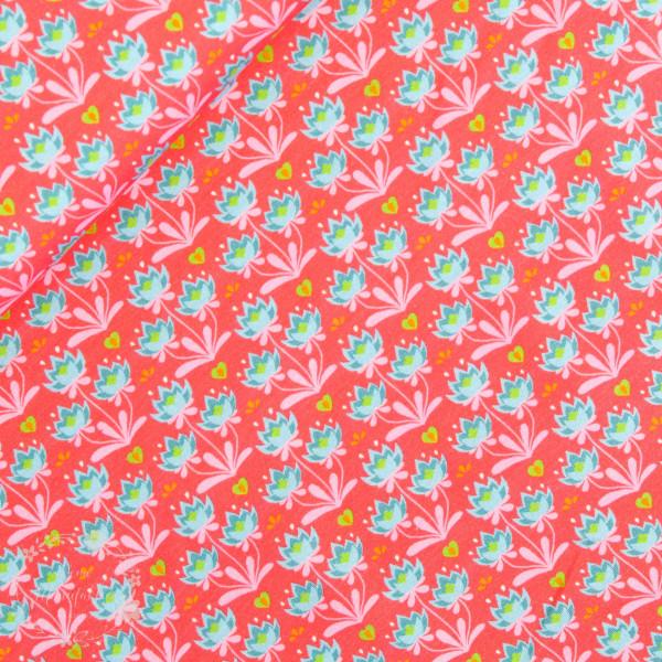 Bomuldsjersey Flora Blomster koralle