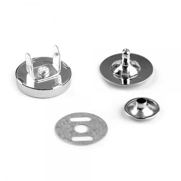 Magnet knap med nitte Ø 18mm sølv