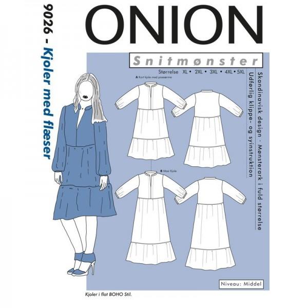 "Snitmønster Onion 9026 ""Kjole med flæser Plus-størrelser"" str XL - 5 XL"