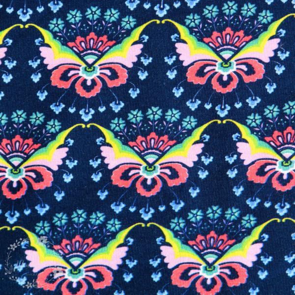 Bomuldsjersey Flora sommerfugl blå