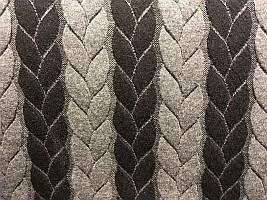 Beklædningsstof med kabelmønster sort-grå