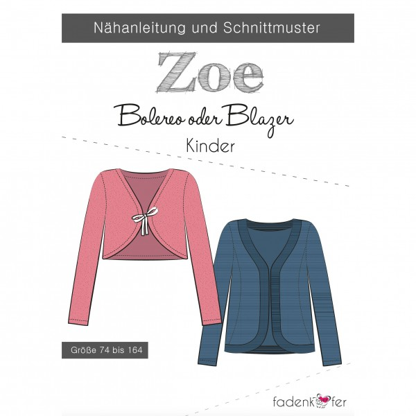 "Snitmønster blazer eller bolero ""Zoe"" Kids str 74 - 164"