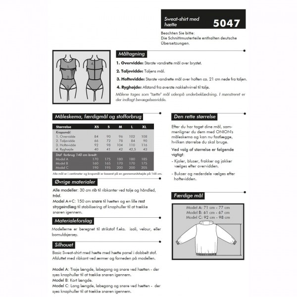 "Snitmønster Onion 5047 ""Sweat-shirt med hætte"" str XS - XL"