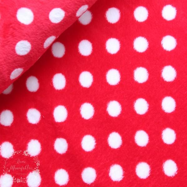 Fleece rød med hvide prikker