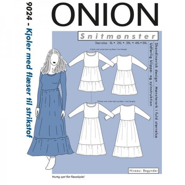 """Snitmønster Onion 9024 """"Kjoler med flæser til strikstof"""" str XL - 5 XL"""