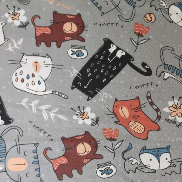 "Bomuld ""Cats Meow"" 12456-grey"