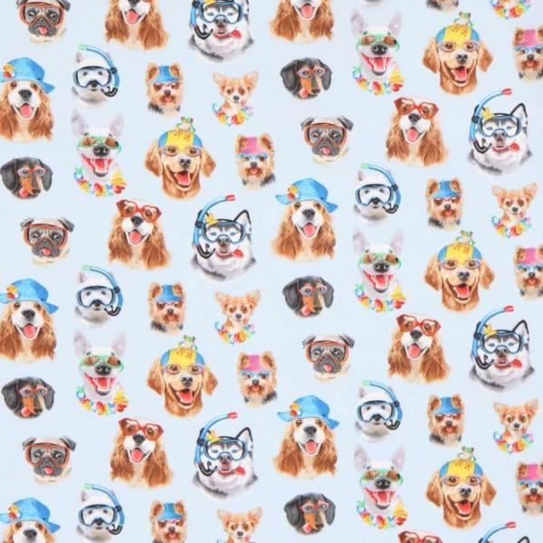 """Bomuld """"Hunde med briller - blå"""" by Howard..."""