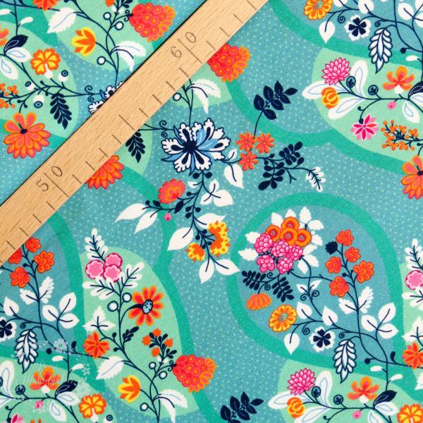 Bomuldsjersey Flora Blomsterdråber smaragd