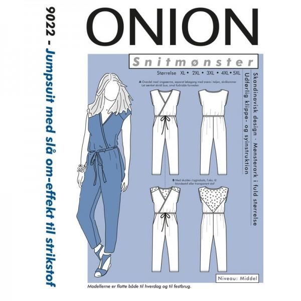 "Snitmønster Onion 9022 ""Jumpsuit med slå om-effekt til strikstof"" str XL - 5XL"