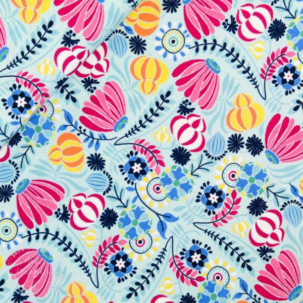 "Bomuldsjersey ""Flora Blomsterbed"" mint"
