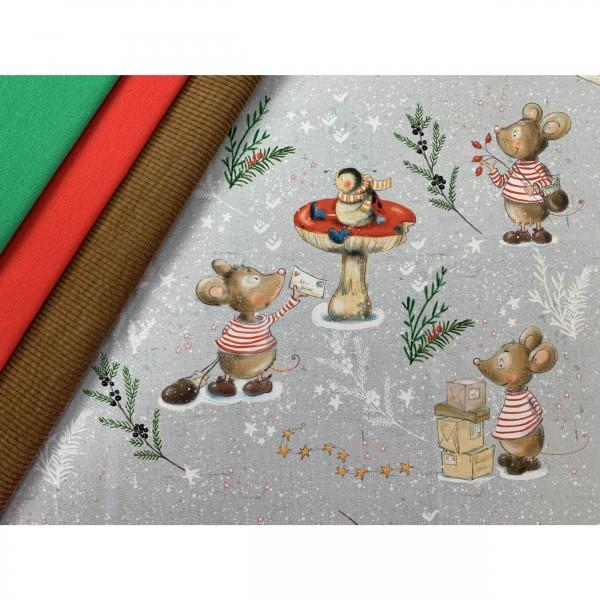 """Bio-Jersey """"Die Weihnachtsmaus"""" fra Tante Gisi"""