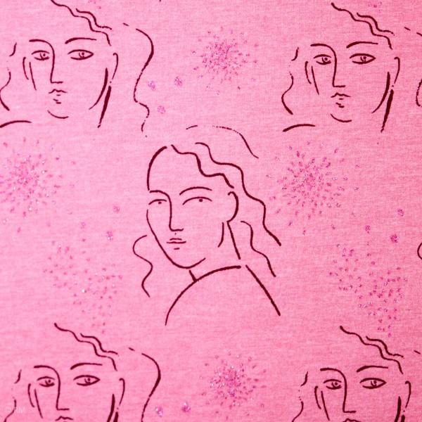 French Terry med kvinder og glitter