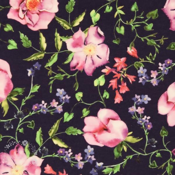 "Bomuldsjersey ""Wild roses"""