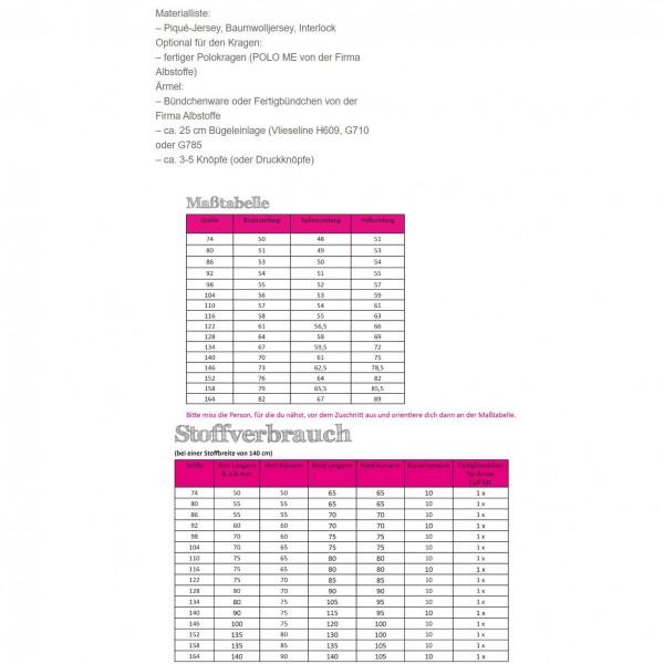 Snitmønster Kids-Polo-Shirt og -kjole str 74 - 164