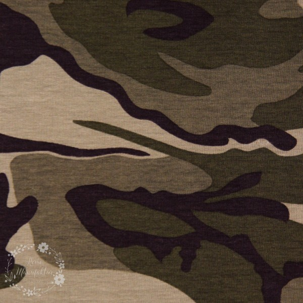 """French Terry """"Camouflage Army grøn"""""""