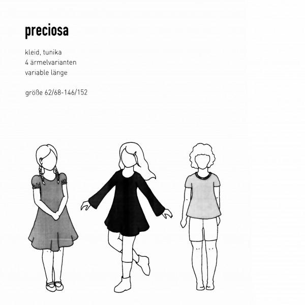 """Snitmønster Børns-Kjole """"Preciosa"""" str 62/68 - 146/152"""