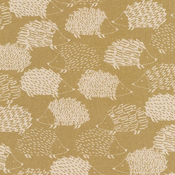 "Cotton flax prints ""Hedgehogs in Tan"" by Robert..."