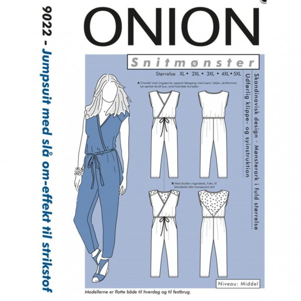 "Snitmønster Onion 9022 ""Jumpsuit med slå om-effekt til strikstof"" str XL - 5 XL"
