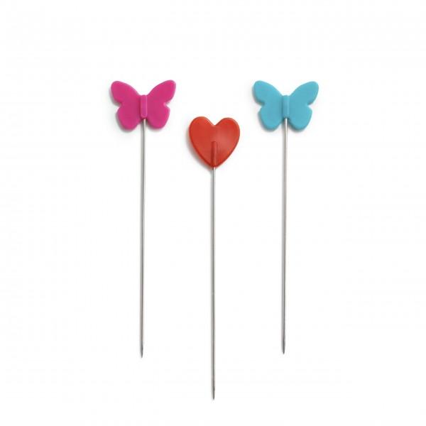 Knappenåle med hjerte og sommerfugl fra Prym Love (50 stk)