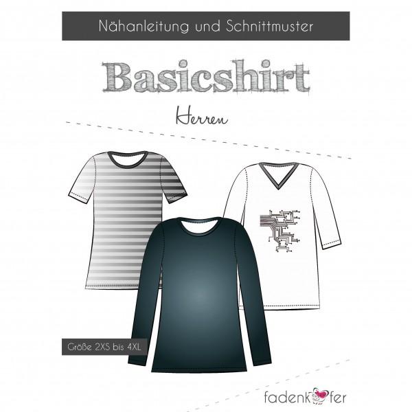 "Snitmønster ""Basicshirt"" Herre str 2XS - 4 XL"