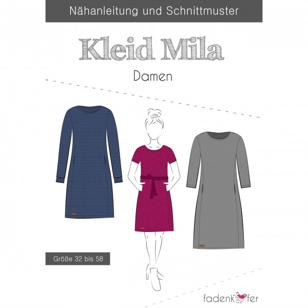"""Snitmønster Dame-Kjole """"Mila"""" str 32 - 58"""