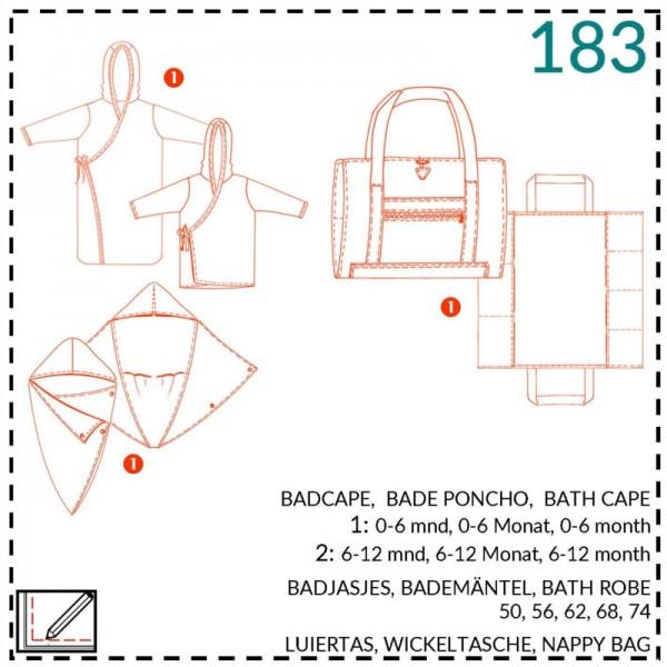 "Snitmønster ""Abacadabra 183"" Baby-Badekåbe str..."