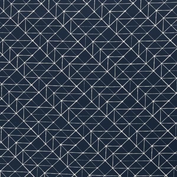 """Bomuld """"Kurt"""" Geometric Lines blå"""