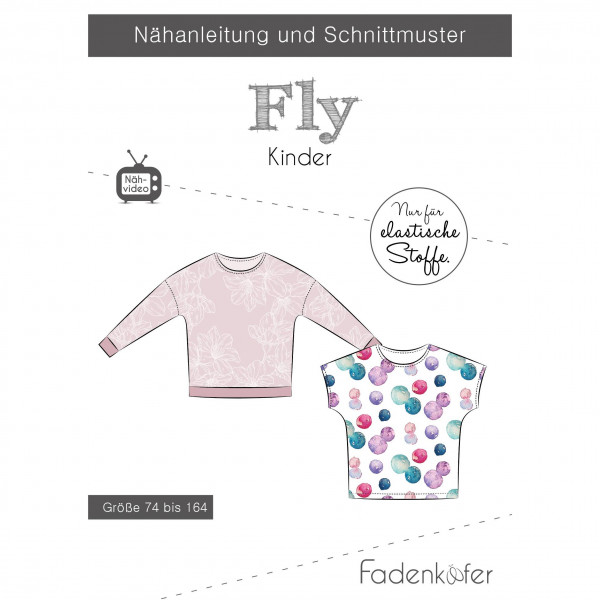 "Snitmønster Børne-Shirt ""Fly"" str 74 - 164"