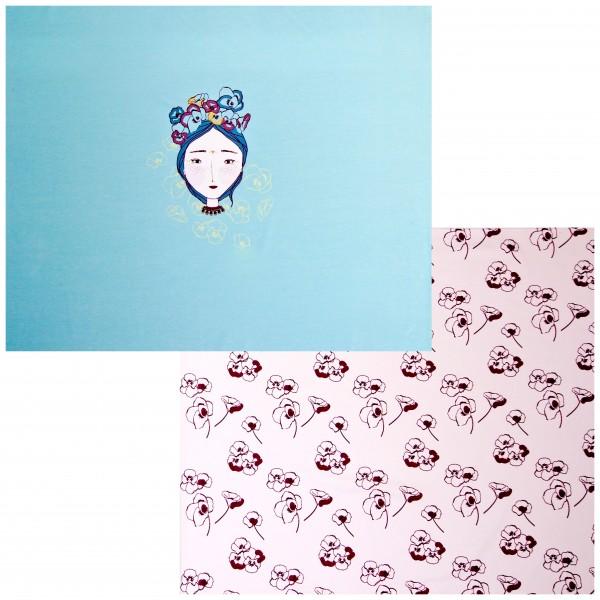 """65 cm Bomuldsjersey Panel """"Pige med valmuer"""""""
