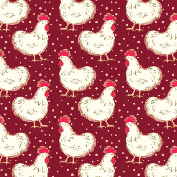 "Bomuld ""Homestead Life - Chicken Fancy - Burgundy"""