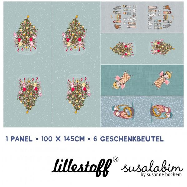 """100 cm BIO-Bomuld-Panel """"Weihnachtsgeschenkebeutel"""" fra Susalabim"""