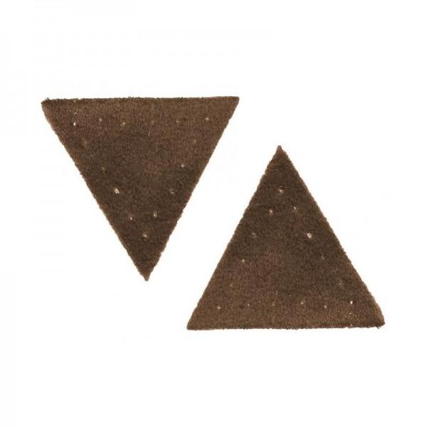 """Symærke """"Trekant"""" ruskindimitation brun"""