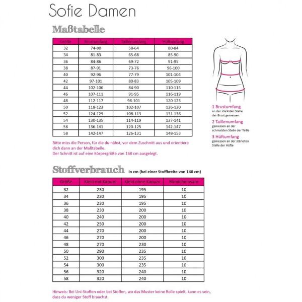 "Snitmønster Dame-Kjole ""Sofie"" str 32 - 58"