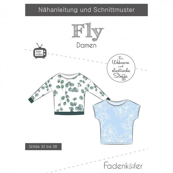 """Snitmønster Dame-Shirt """"Fly"""" str 32 - 58"""