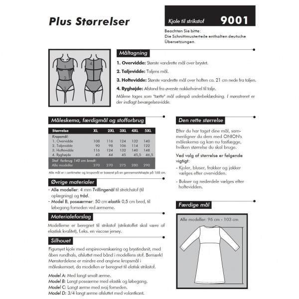"""Snitmønster Onion 9001 """"Kjole til strikstof"""" Plusstørrelser XL - 5 XL"""