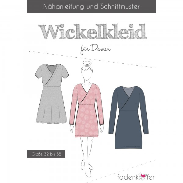 """Snitmønster Kjole """"Wickelkleid"""" Dame str 32 - 58"""