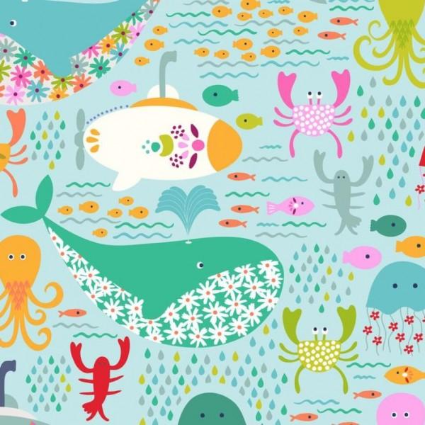 "Bomuld ""GO fish"" Under the Sea lightblue"