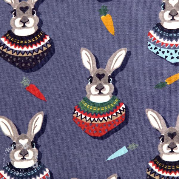 "Bomuldsjersey ""Autumn Bunny"" by Lila-Lotta, blå-grå"