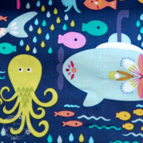 "Bomuld ""Go Fish"" Under the Sea navy"