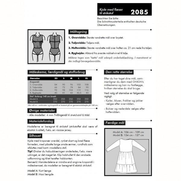 """Snitmønster Onion 2085 """"Kjoler med flæser til strikstof"""" str XS - XL"""
