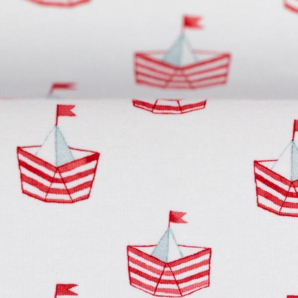 "Bomuldsjersey ""Nautical Baby"" sejlbåd"