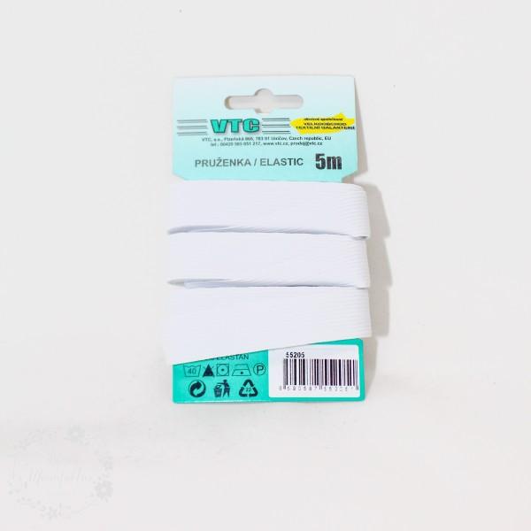 5 m Elastikbånd ca. 13,2 mm hvid