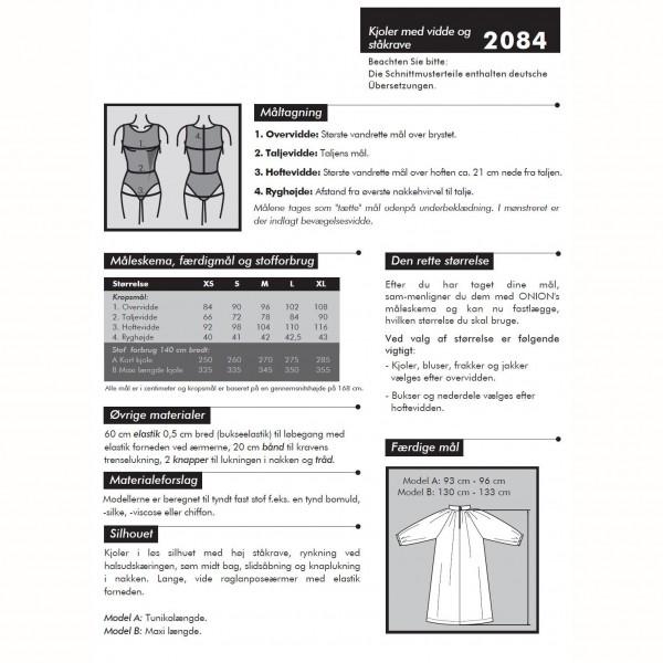 """Snitmønster Onion 2084 """"Kjoler med vidde og ståkrave"""" str XS - XL"""