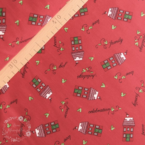 """Bomuld """"Holly Hill Christmas - Tossed Houses Red"""""""