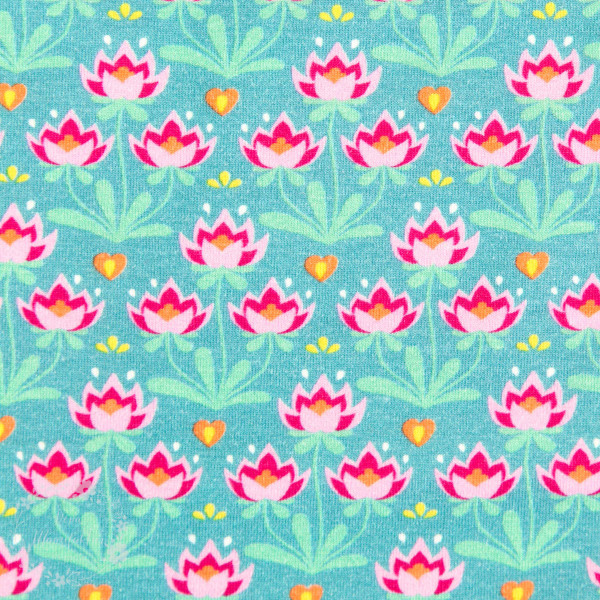 Bomuldsjersey Flora Blomster petrol