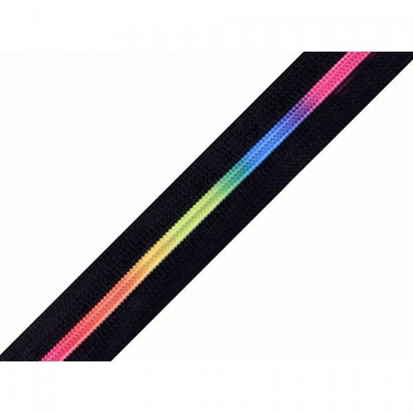Lynlås endeløs (Spiral 6 mm) regnbue-sort