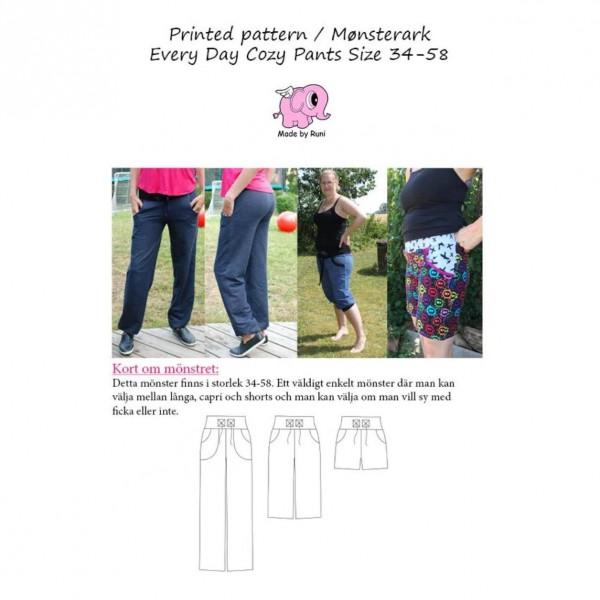 """Snitmønster til kvinder """"Every Day Cozy Pants"""" str 34 - 58"""