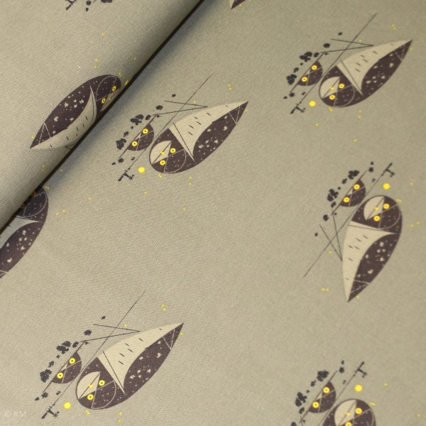 "BIO-Canvas Birch ""Western birds"" dch51 fra Birch Fabrics"