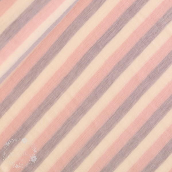 Uld-Strik med striber hvid, lyserød og lilla